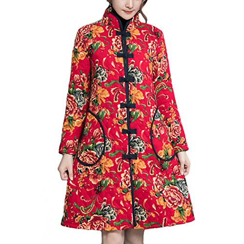 HÖTER 2018 Womens Autumn Winter Snowing Printed Floral Vintage Folk Style Cheongsam Cotton Padded Warm (Chinese Womens Jacket)