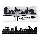 Black Cat 6 Pieces Paper Clips and 20cm Ruler Set, Gift for Cat Lovers (Black Cat Set)