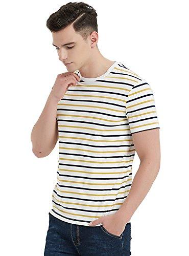 Zengjo Essential Men's Stripes T-Shirts Comfort Soft Short-Sleeve Crew-Neck Striped Vee Tee Top (XL, Navy & Yellow ()