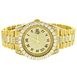 Presidential Style Watch Gold Tone Solitaire Bezel Simulated Diamond Stainless Steel