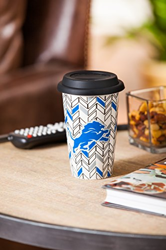 """Team Sports America Detroit Lions NFL Just Add Color Double-Wall Chevron Ceramic Travel Coffee and Tea Cup with Silicone Lid – 4""""W x 6""""H"""