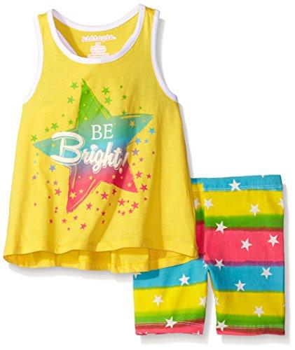 Kidtopia Little Girls' Toddler Be Bright and Back Bow With Stripes and Stars Bike Short Set, Lemon Zest, 3T Bright Lemon Stripe
