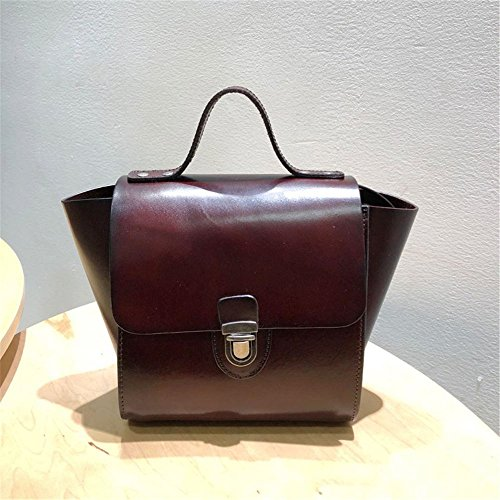 Female Handbags Capacity Layer color Suitable Large Asdflina Wine Dark Red Handbag Messenger Bag Use Everyday Tote Leather Blue For Vintage 5zFFCnxSq