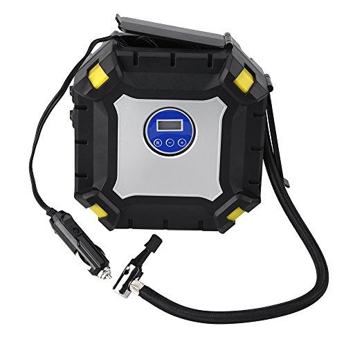 Qiilu Digital Tire Inflator Pump 12V 100PSI Car Portable Air Compressor Emergency Mini Little Compressors with Pressure Gauge Powered by 12V Cigarette Lighter for Car Ball Bike Motorcycle Truck RV SUV