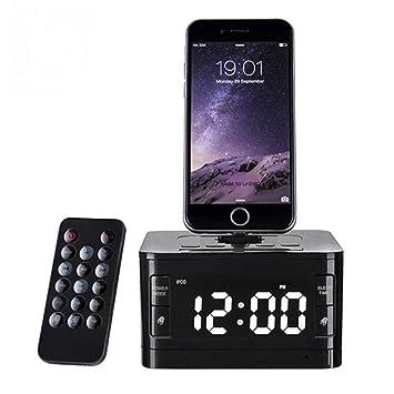 Wolfsay Marca LCD Digital Radio FM Despertador Reloj de música Estación de Cargador Bluetooth Estéreo Altavoz para iPhone 5s 6 6s Plus para iPhone 7: ...