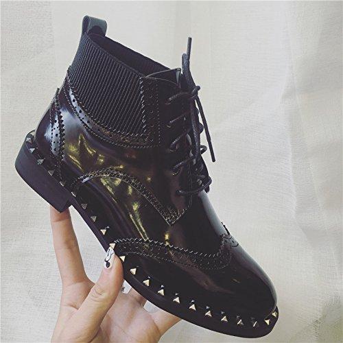Et Bottes D'Hiver Fond Plat Plat Boots unie Botte À Femme Courte Martin Couleur SHOESHAOGE Talon fqvzxTZBnw