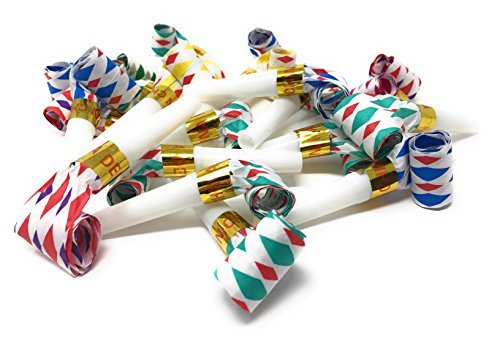 Bulk Toys Party Pack of 36 Noisemakers. Our Blow Outs Make the Noise! These are Great Birthday Party Favors, New Years Party Noisemakers, and Perfect Goody Bag Stuffers for Your Next Blowout try Ours!]()