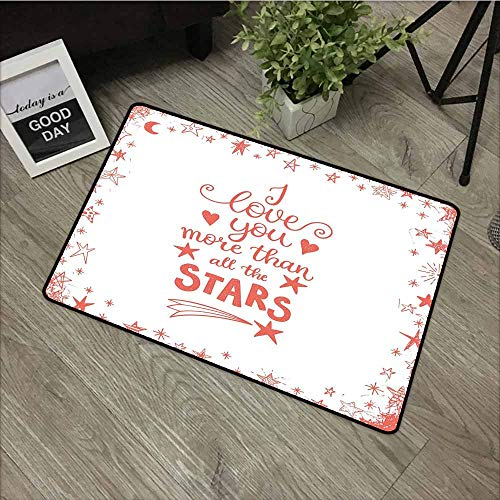 LOVEEO Print Bath Mat,I Love You More Quote of Infatuation Surrounded by Stars Scribble Art for Valentines,Easy Clean Rugs,31