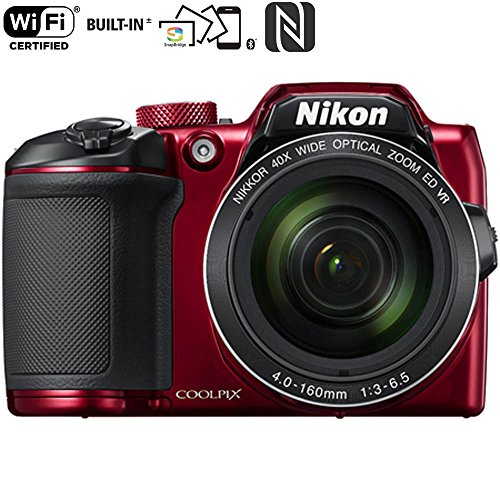 Nikon COOLPIX B500 16MP Digital Camera with 3 Inch TFT LCD Screen Nikkor Lens With 40x optical zoom wifi, Red (Certified Refurbished) by Nikon