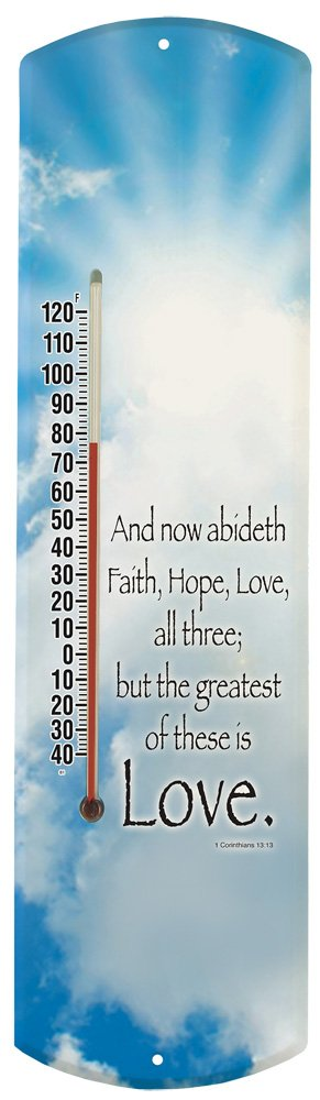 Heritage America by MORCO 375LOVE Greatest is Love Outdoor or Indoor Thermometer, 20-Inch