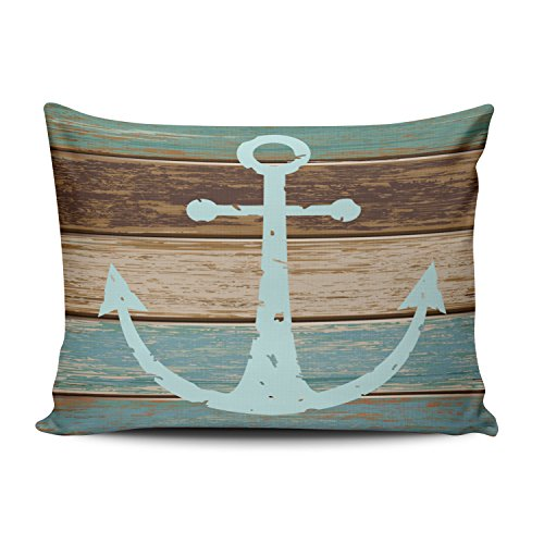 - Fanaing Bedroom Custom Decor Nautical Anchor Weathered Wood Coastal Themed Pillowcase Soft Zippered Brown Aqua Mint Turquoise Throw Pillow Case Fashion Design One-Side Printed Boudoir 12x18 inches