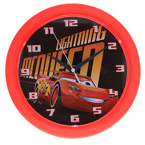 Disney Pixar Cars 3 10 Inch Wall Clock Home Decor Analog Style Quartz Red (Disney Cars Alarm Clock)