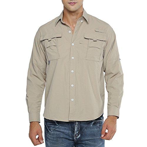 Men's Sportswear Quick Dry Sun UV Protection Long Sleeve Fishing Shirts, 5052,Khaki,US L