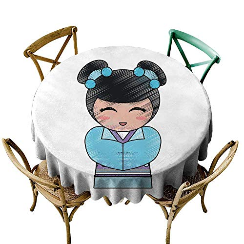 SKDSArts Modern Waterproof Table Clothes Geisha Cartoon Avatar D36,Table Cover for Outdoor and Indoor]()