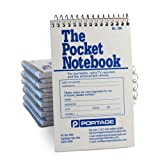 "Portage Pocket Sized Notebook for Journalists and Reporters, Law Enforcement Professionals and More – 3 ¾"" x 6 1/2"" Wide Ruled Spacing Pocket Spiral Notebook – 140 Pages (12 Pack)"