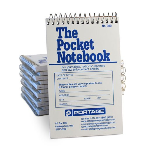 Portage Pocket Sized Notebook for Journalists and Reporters, Law Enforcement Professionals and More - 3 ¾