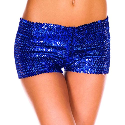 YiZYiF Fashion Women's Sparkling Sequins Party Clubwear Stretchy Dance Shorts Blue One Size