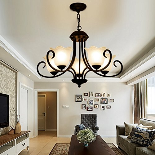 Art Light American Three (American Style Iron Art Chandeliers, Suction Hanging Dual-use, Carved Glass Lampshade, Three-color Light Source, Bedroom Studyroom Five Head Chandeliers ( Color : Adjustable light ))