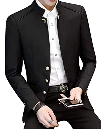 6e2c7aa169a YYG Mens Business Single Breasted Non-Iron Mandarin Collar Regular Fit  Blazer Jacket Coat at Amazon Men s Clothing store