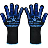 STAR JOINING Oven Gloves,BBQ Grill Gloves Heat Resistant Gloves Microwave High Performance Gloves For Fireplace,Cooking,Baking,Slip Resistant Gloves,5 Fingers Protection,1 Pair (Long Glove)