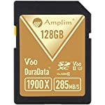 Amplim extreme high speed 32gb uhs-ii v90 sdxc sd card for 4k 8k uhd video camera camcorder 9 ultra high performance sd card: blazing speed 1900x (285mb/s) transfer rate. Twice the read speed of 1000x card. Newest sd association sd 5. 0 specs v60+ video rating provides 4k continuing shooting (other uhs-ii cards without v ratings are last generation sd 4. 0 cards). Top rated uhs-ii u3 class10 pro extreme turbo fast high capacity sd card for latest uhs-ii sdxc (sd xc) compatible cameras, accessories, usb-c sd card reader, microsoft surface book 2 and super fast 3d hdr 360 4k dslr and 3d professional photographer memory card: 32, 64 128 and 256 gig uhs-ii high capacity cards for dslr and mirrorless uhs-ii video cameras (sony, fuji, leica, nikon, olympus, panasonic, samsung). Sony alpha a9 a7 a7r mark iii sf card cyber-shot rx1r ii; fujifilm fuji x-t1 x-pro2 x-t2 gfx 50s x-h1 x-e3; leica sl type 601 m10; nikon d850 d500 fx; olympus om-d e-m5 ii om-d e-m10 ii iii pen-f om-d e-m1 mark ii; panasonic lumix dc-g9 gh5s gh5 gh4; samsung nx1; black magic ursa; support all uhs-ii devices backward compatible with uhs-i cameras (note: speed of uhs-ii card will be limited by the uhs-i sd slot): sony cyber-shot dsc w800 w830 dsch300 alpha a7r ii dsc-rx10 iv a6500 a9 a6300 a99 ii; canon powershot sx720 sx730 sx530 hs elph 180 190 is g7 x 5d mark iv iii ii eos 80d 5ds r rebel t7i t6 t5 kiss x70 x9 x9i 1300d 1200d m100 sl2 200d m56d m10 m677d 9000d 800d; nikon coolpix l32 l340 b500 d3400 d5300 d3300 d750 d7200 d7500 d5600