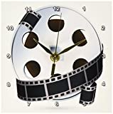 3dRose dc_159179_1 a Silver and Black Movie Reel Desk Clock, 6 by 6-Inch