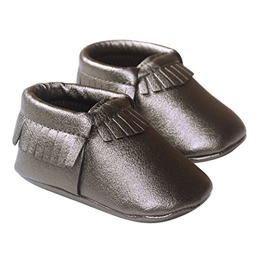 Happy Cherry Infant Baby Toddler Newborn Leather Soft Sole Tassel Pre-Walkers Shoes Moccasins Slip-on Crib Shoes Grey Size 13 (Pre Sandals Walker)