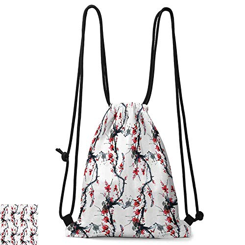 Personality backpack Asian Decor Collection Flowers Season Classic Water Painting Style Artwork Tradition Oriental Summer Image W14