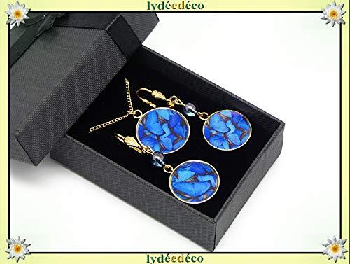 Set Collar Pendientes Pendientes Mariposas latón azul oro ...