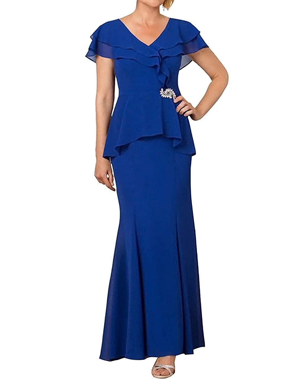 Royal bluee ZLQQ Womens Mother of The Bride Dress 2019 Cap Sleeve V Neck Formal Evening Gown