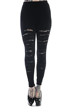 Banned Rockabilly Gothic Cut up - Cut Out Sexy Ripped Look Black Leggings (M)