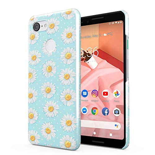 - Flowers Baby Blue Daisies Pattern Google Pixel 3 Plastic Phone Protective Case Cover