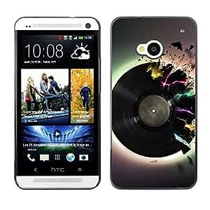 TopCaseStore / la caja del caucho duro de la cubierta de protección de la piel - Vinyl Music Neon Colors Art Love Retro Dance - HTC One M7