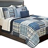 Duncan Plaid Printed Bedding 3 Piece/Bedspread Coverlet Quilt Set (Blue, Queen)