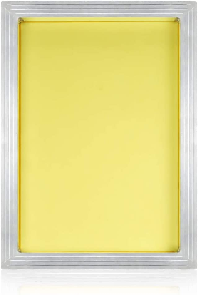 PP OPOUNT 10 x 14 Inch Aluminum Silk Screen Printing Frame with Yellow 230 Mesh for Screen Printing