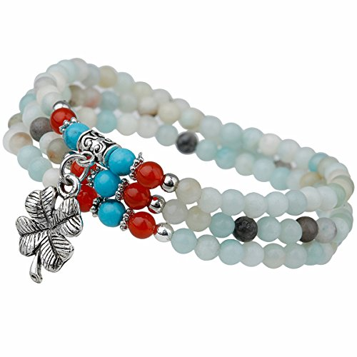 TUMBEELLUWA Prayer Beads Stone Bracelets for Women, Stretchy Multilayer Bracelet with Leaf Clover Lucky Charms, Amazonite