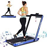 ANCHEER 2 in 1 Smart Folding Treadmill, 2.25HP Under Desk Treadmill, Portable Space Saving Fitness Motorized Walking Running Machine with Bluetooth Audio Speakers