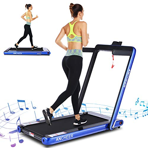 ANCHEER 2 in 1 Electric Folding Treadmill, 2.25HP Under Desk Treadmill, Portable Space Saving Fitness Motorized Walking Running Machine with Bluetooth Audio Speakers (Blue)