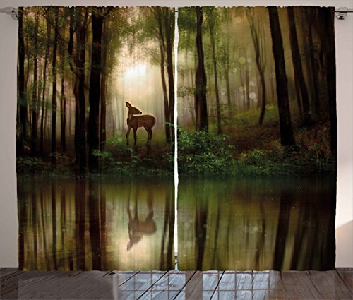 Ambesonne Nature Curtains, Baby Deer in The Forest with Reflection on Lake Foggy Woodland Graphic, Living Room Bedroom Window Drapes 2 Panel Set, 108 W X 63 L Inches, Green Cocoa (Panels Curtain Graphic)