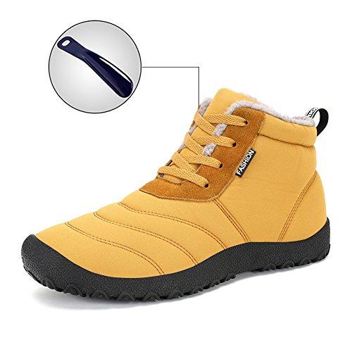 Hommes Femmes Bottes De Neige Hiver Chaussures Imperméables Lace Up Anti-dérapant Cheville Chaussures Dextérieur Jaune