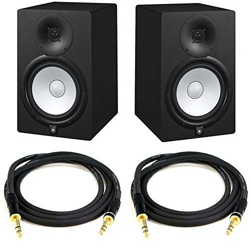 Yamaha HS8 Powered Studio Monitor Pair Bundle with Two Monitors, TRS Cables, and Austin Bazaar Polishing Cloth by Yamaha