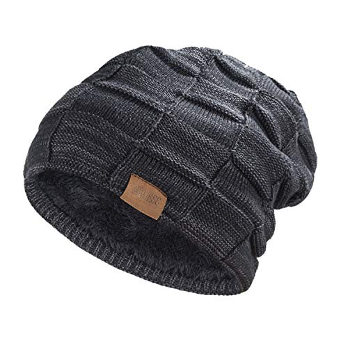 (REDESS Beanie Hat for Men and Women Winter Warm Hats Knit Slouchy Thick Skull Cap(Black))