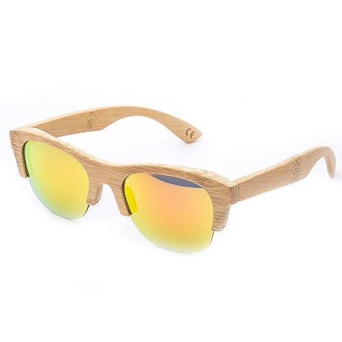 1 Pieza Gafas De Sol Hechas A Mano De Bambú UV400 Con Estuche De Las Gafas Para Hombres Y Mujeres (5)