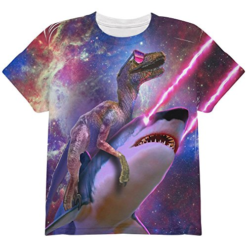 Animal World Velociraptor Laser Shark Galaxy Funny All Over Youth T Shirt Multi -