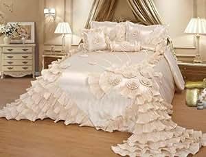 6pcs cream royalty oversize wedding bedding for Bride kitchen queen set