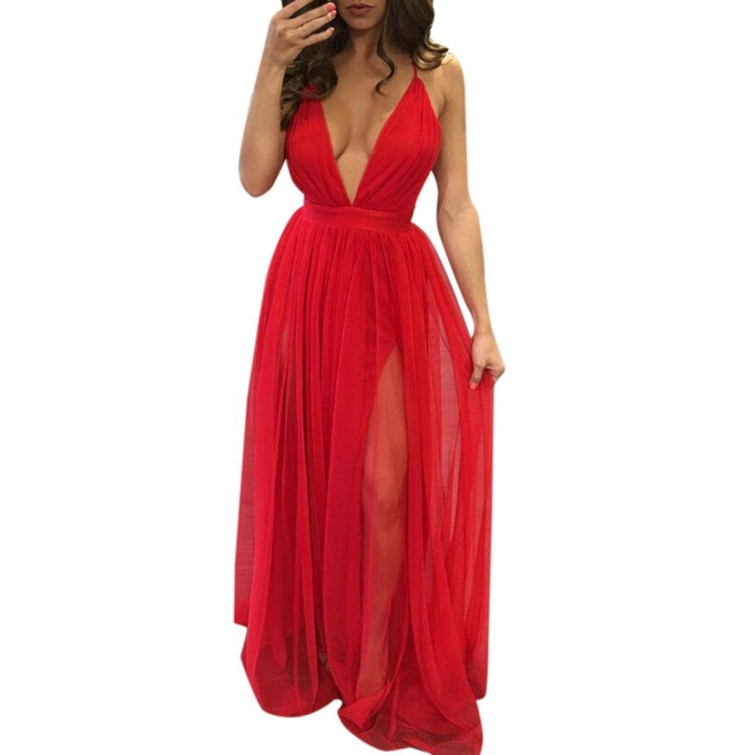 Kimloog Women Deep V Neck Sleeveless Backless Ankle-Length Sundress Clubwear Solid Straps Long Dress (M, Red) by Kimloog