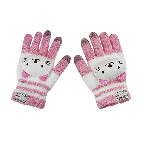 Greenery Cute Winter Wool Touchscreen Gloves Mitten, iPhone Gloves, Texting Gloves for Girls/Ladies, Great Gift for Christmas Day/ New Year (Light Pink Cute Cat) (Gift New Year)