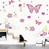 LiveGallery Pink Red Butterfly Wall Decal Nursery Rooms Stickers Removable DIY Waterproof Flowers Wall art Decor Wallpaper Murals for Girls Lady Babys Bedroom Offices