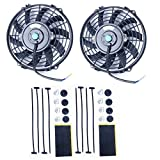 8milelake 9 Inch High Performance Black Electric Radiator Cooling Fan Assembly Kit (Pack of 2)