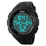 Auspicious beginning Waterproof 3d pedometer odometer running walking calorie counter sport watch, black